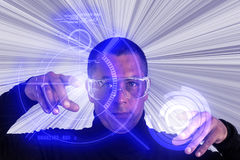Obsługuje Być ubranym augmentacj szkła używać Cyfrowego pokazu HUD Zdjęcie Stock