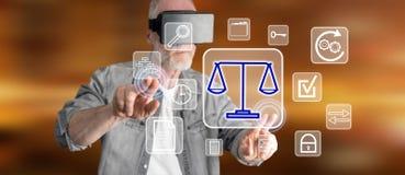 Obsługuje być ubranym rzeczywistości wirtualną słuchawki dotyka biznesową zgodność na dotyka ekranie Zdjęcia Stock