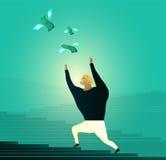 Obsługuje cyzelatorstwo pieniądze, bieg po latać dolarowych rachunki ilustracji