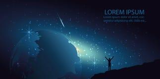 Obsługuje część wszechświat, Światowa kula ziemska w wszechświacie, mieszkanie, wektor, Fotografia Royalty Free