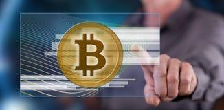 Obsługuje dotykać bitcoin waluty pojęcie na dotyka ekranie Fotografia Stock