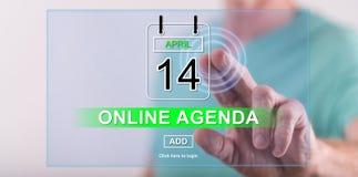Obsługuje dotykać online agendy pojęcie na dotyka ekranie Zdjęcie Stock