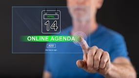 Obsługuje dotykać online agendy pojęcie na dotyka ekranie Fotografia Royalty Free