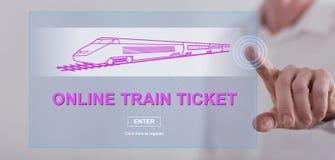 Obsługuje dotykać online taborowego bileta pojęcie na dotyka ekranie Fotografia Royalty Free