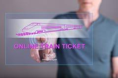 Obsługuje dotykać online taborowego bileta pojęcie na dotyka ekranie Zdjęcie Royalty Free