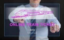 Obsługuje dotykać online taborowego bileta pojęcie na dotyka ekranie Fotografia Stock