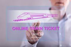 Obsługuje dotykać online taborowego bileta pojęcie na dotyka ekranie Zdjęcia Stock