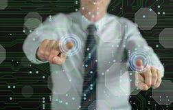 Obsługuje dotykać technologii cyfrowej pojęcie na dotyka ekranie Zdjęcia Stock