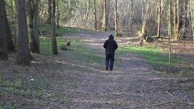 Obsługuje działającego na śladzie w parku daleko od zdjęcie wideo