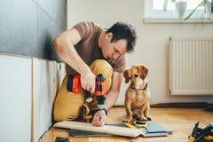 Obsługuje i jego pies robi odświeżanie pracie w domu obrazy stock
