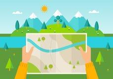 Obsługuje na wycieczkuje wycieczce trzyma mapę w jego rękach Natura krajobraz góry, wzgórza, łąki i rzeka, Wycieczkować, obozując ilustracja wektor