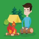 Obsługuje obsiadanie na beli blisko ogniska w campingu ilustracja wektor