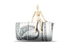 Obsługuje obsiadanie na ogromnej rolce dolarowi banknoty zdjęcia royalty free