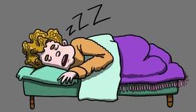Obsługuje odpoczywać pokojowo i spać w jego łóżku, ilustracja Obraz Stock