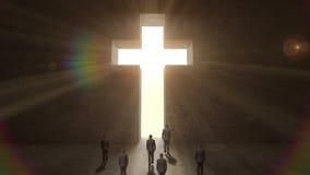 Obsługuje odprowadzenie przez kształta krzyż na czarnej ścianie ilustracja wektor