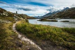 Obsługuje odprowadzenie w góra śladzie w Switzerland alps obrazy royalty free