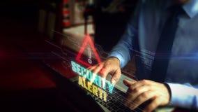 Obsługuje pisać na maszynie na klawiaturze z alarm bezpieczeństwa symbolu hologramem zdjęcie wideo