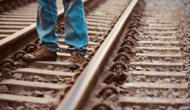 Obsługuje pozycję w linii kolejowej unikalnej akcyjnej fotografii Obraz Stock