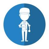 Obsługuje pracownika błękita munduru nakrętki i schowka cień ilustracja wektor