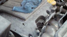 Obsługuje pracownika sprawdza samochodowego parowozowego olej z rękawiczką Samochodowa parowozowej kontroli naprawa zbiory