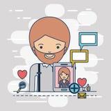 Obsługuje przyrodniego ciało z multimedialnymi podaniowymi ikonami i communiction z kobietą w przyrząd techniki pastylce na kolor Zdjęcie Royalty Free