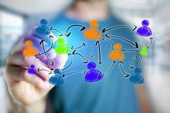 Obsługuje rękę rysuje ogólnospołeczną sieci ikonę na futurystycznym interfejsie Zdjęcie Stock