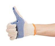 Obsługuje rękę w pracy rękawiczce z kciukiem up Obrazy Stock