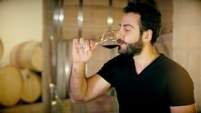 Obsługuje sommelier obwąchania aromata czerwone wino w szkle na tło starym lochu zbiory wideo