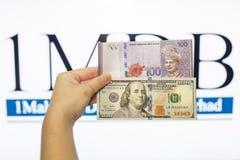 Obsługuje trzymać Malezja Ringgit z burr 1MDB tłem wskazuje USA rzędu Fotografia Stock