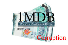 Obsługuje trzymać Malezja Ringgit z burr 1MDB tłem wskazuje USA rzędu inves Obrazy Royalty Free