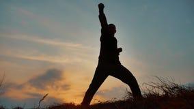 Obsługuje wojownik sztuk samoobrony michaelita sylwetki karate ćwiczy kung Fu na trawiastym horyzoncie przy zmierzchem Karate kop zdjęcie wideo