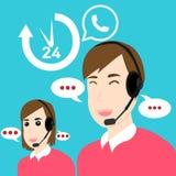 Obsługa klienta i poparcie Otwieramy 24 godziny royalty ilustracja