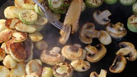 Obs?uguje kucharstwo sma?y warzywa i pieczarki na niecce zdjęcie wideo