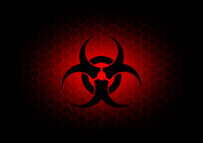 Obscuridade abstrata do símbolo do biohazard - fundo vermelho Fotografia de Stock Royalty Free