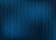 Obscuridade abstrata - fundo azul com dígitos do código binário Fotografia de Stock