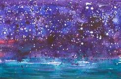 Obscuridade abstrata - fundo azul com estrelas Ilustração da aguarela ilustração do vetor