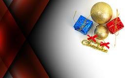 Obscuridade abstrata - fundo da cor vermelha com decoração do Natal Fotos de Stock Royalty Free