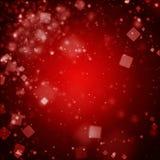 Obscuridade abstrata - fundo vermelho com luzes defocused do bokeh quadrado Imagens de Stock Royalty Free