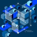 Obscuridade abstrata isom?trica - o fundo azul com o cubo dimensional linear d? forma, elementos da malha do vetor 3d Disposi??o  ilustração stock