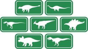 Obscuridade ajustada do emblema retangular do dinossauro - verde Fotos de Stock Royalty Free