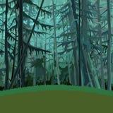 Obscuridade conífera densa fabulosa da floresta dos desenhos animados - verde Fotos de Stock Royalty Free