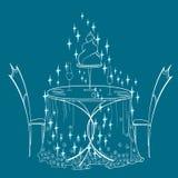 Obscuridade da estrela azul dos desenhos animados dos pares da tabela Fotos de Stock Royalty Free