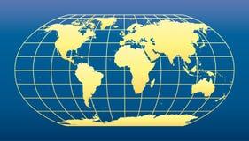 Obscuridade do mapa de mundo - fundo azul ilustração stock