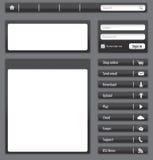 Obscuridade do Web site - elementos e módulos cinzentos ilustração do vetor
