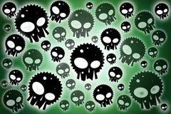 Obscuridade dos crânios - fundo verde Ilustração Stock