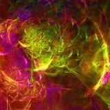 Obscuridade e papel de parede abstrato muito colorido do fractal com diferente e muitas formas Fotografia de Stock