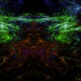 Obscuridade e papel de parede abstrato muito colorido do fractal com diferente e muitas formas imagens de stock