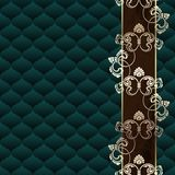 Obscuridade elegante - fundo Rococo verde com ornamento Fotografia de Stock Royalty Free