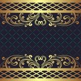 Obscuridade luxuosa - fundo azul com beiras florais douradas Foto de Stock Royalty Free