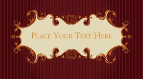 Obscuridade retro, do vintage - vermelho e rolos do ouro Imagem de Stock Royalty Free